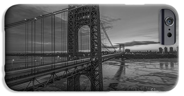 Hudson River iPhone Cases - GW Bridge Car Light Trails  iPhone Case by Michael Ver Sprill