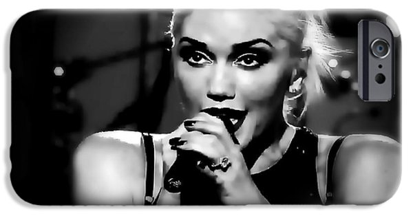Gwen Stefani iPhone Cases - Gwen Stefani Black and White watercolor iPhone Case by John Delong