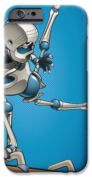 Robots iPhone Cases - Gym-Bot Pommels 3 iPhone Case by Nicholas Bockelman