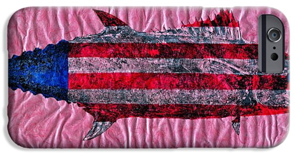 4th July Mixed Media iPhone Cases - Gyotaku - American Spanish Mackerel - Flag iPhone Case by Jeffrey Canha