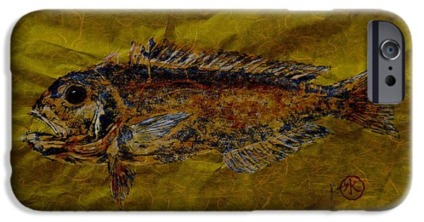 Sportfish Mixed Media iPhone Cases - Gyotaku - Golden Tilefish - Clown of the Sea - Blanquillo iPhone Case by Jeffrey Canha