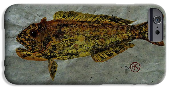 Sportfish Mixed Media iPhone Cases - Gyotaku - Golden Tilefish - Clown of the Seas - Blanquillo iPhone Case by Jeffrey Canha