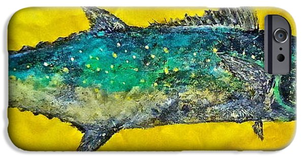 Sportfish Mixed Media iPhone Cases - Gyotaku -Spanish Mackerel - Bright Yellow iPhone Case by Jeffrey Canha