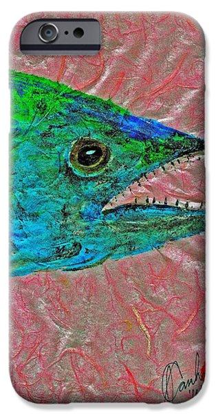 Sportfish Mixed Media iPhone Cases - Gyotaku- Spanish Mackerel- Bubble Gum Pink iPhone Case by Jeffrey Canha