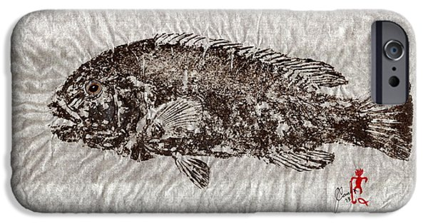 Sportfish Mixed Media iPhone Cases - Gyotaku Tautog on Rice Paper w Black Border iPhone Case by Jeffrey Canha