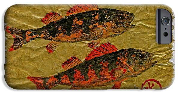 Sportfish Mixed Media iPhone Cases - Gyotaku - Yellow Perch - Orange Roughy iPhone Case by Jeffrey Canha