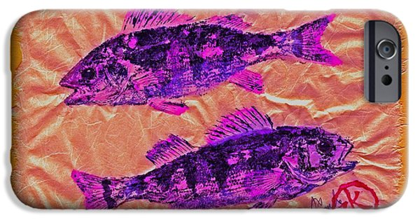 Sportfish Mixed Media iPhone Cases - Gyotaku - Yellow Perch - Pink Fish iPhone Case by Jeffrey Canha