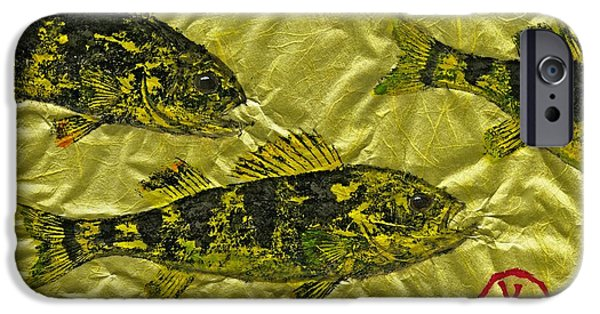 Sportfish Mixed Media iPhone Cases - Gyotaku - Yellow Perch - Walleye iPhone Case by Jeffrey Canha
