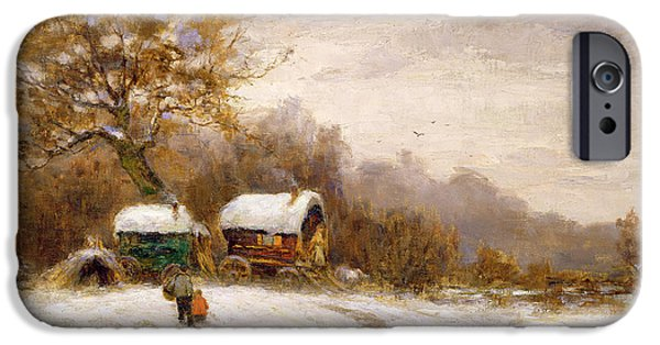 Recently Sold -  - Snowy iPhone Cases - Gypsy Caravans in the Snow iPhone Case by Leila K Williamson