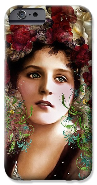 Seductive iPhone Cases - Gypsy Girl Of Autumn Vintage iPhone Case by Georgiana Romanovna