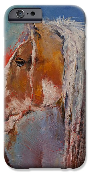 Michael Paintings iPhone Cases - Gypsy Vanner iPhone Case by Michael Creese