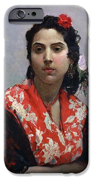 Shawl iPhone Cases - Gypsy Woman iPhone Case by Raimundo de Madrazo y Garetta