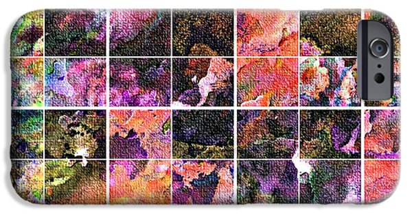 Abstract Digital Tapestries - Textiles iPhone Cases - Tiled Watercolor Blocks with Texture 3 iPhone Case by Barbara Griffin