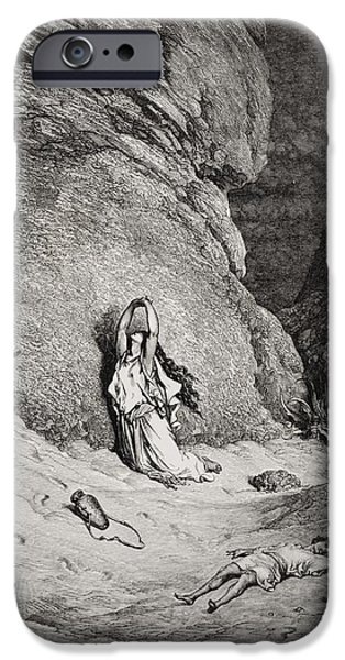 Hagar and Ishmael in the Desert iPhone Case by Gustave Dore