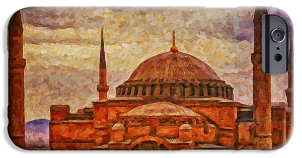 Christian Artwork Digital Art iPhone Cases - Hagia Sophia Digital Painting iPhone Case by Antony McAulay