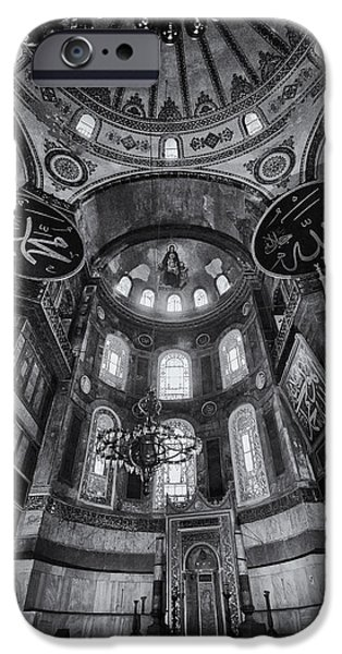 Christ In Majesty iPhone Cases - Hagia Sophia Interior - BW iPhone Case by Stephen Stookey