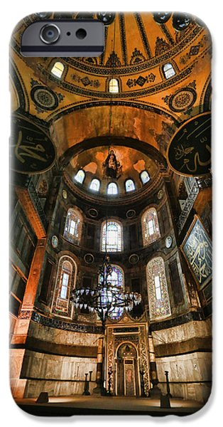 Christ In Majesty iPhone Cases - Hagia Sophia Interior iPhone Case by Stephen Stookey