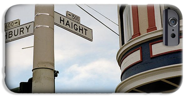 San Francisco Street iPhone Cases - Haight Ashbury District San Francisco Ca iPhone Case by Panoramic Images