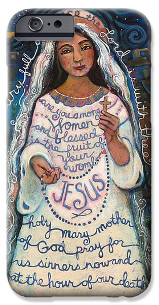 Religious Art iPhone Cases - Hail Mary iPhone Case by Jen Norton