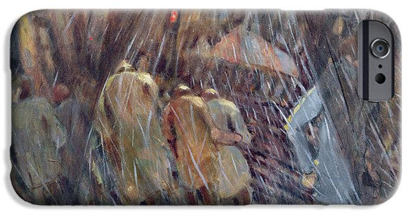 Night Lamp iPhone Cases - Hail On Sixth Avenue, New York City, 1987 Oil On Canvas iPhone Case by Charlotte Johnson Wahl