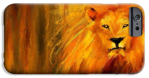 Lion Art iPhone Cases - Hail The King iPhone Case by Lourry Legarde
