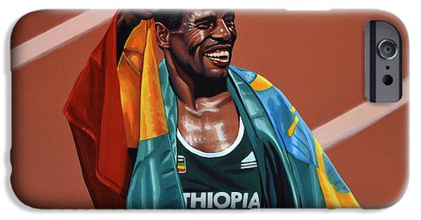 Summer Sports Paintings iPhone Cases - Haile Gebrselassie iPhone Case by Paul  Meijering