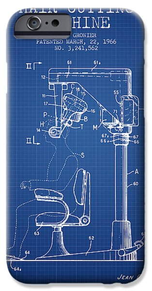 Barber iPhone Cases - Hair Cutting Machine Patent from 1966 - Blueprint iPhone Case by Aged Pixel