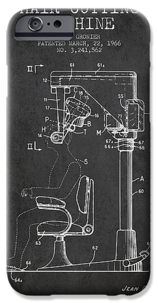 Barber iPhone Cases - Hair Cutting Machine Patent from 1966 - Charcoal iPhone Case by Aged Pixel