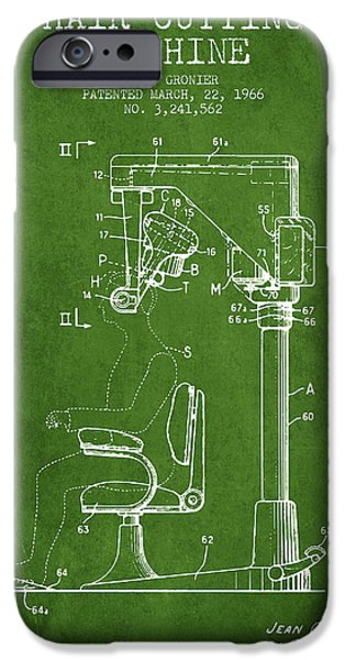Barber iPhone Cases - Hair Cutting Machine Patent from 1966 - Green iPhone Case by Aged Pixel