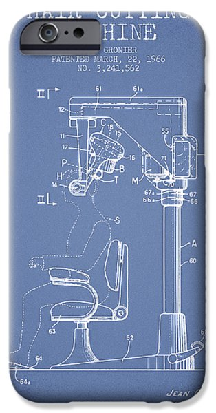 Barber iPhone Cases - Hair Cutting Machine Patent from 1966 - Light Blue iPhone Case by Aged Pixel