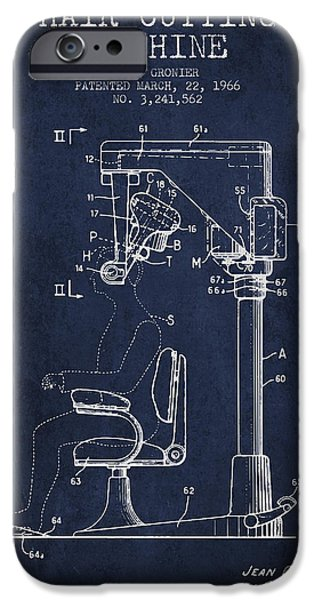 Barber iPhone Cases - Hair Cutting Machine Patent from 1966 - navy Blue iPhone Case by Aged Pixel