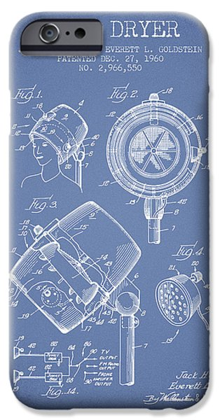 Cutting iPhone Cases - Hair Dryer patent from 1960 - Light Blue iPhone Case by Aged Pixel