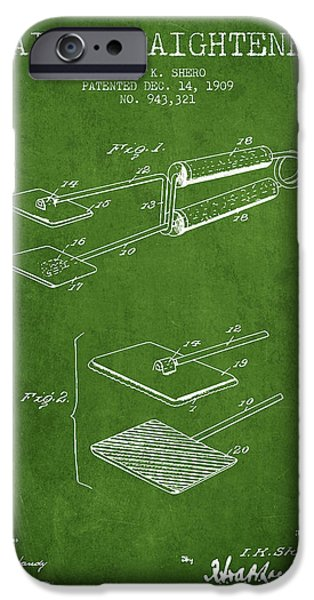 Cutting iPhone Cases - Hair Straightener Patent from 1909 - Green iPhone Case by Aged Pixel