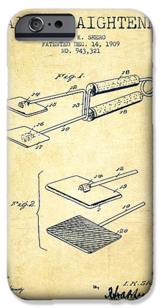 Cutting iPhone Cases - Hair Straightener Patent from 1909 - Vintage iPhone Case by Aged Pixel
