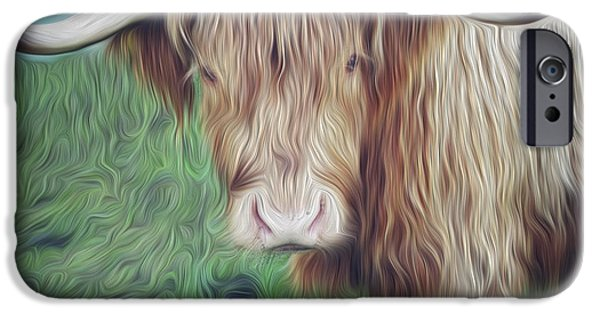 Agriculture Digital iPhone Cases - Hairy cow iPhone Case by Les Cunliffe