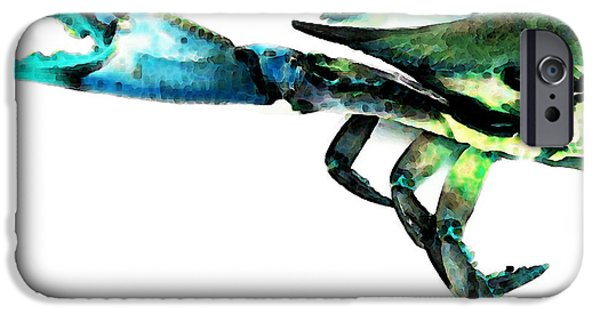 Sea iPhone Cases - Half Crab - The Left Side iPhone Case by Sharon Cummings