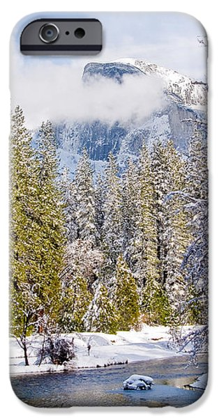 Half Dome and the Merced River iPhone Case by Bill Gallagher