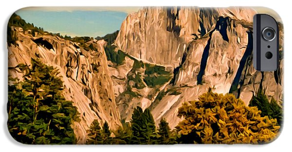Half Dome Paintings iPhone Cases - Half Dome Painting iPhone Case by  Bob and Nadine Johnston