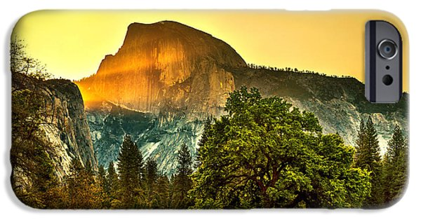 Yellow Images iPhone Cases - Half Dome Sunrise iPhone Case by Az Jackson