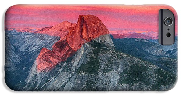 Half Dome Paintings iPhone Cases - Half Dome Sunset from Glacier Point iPhone Case by John Haldane