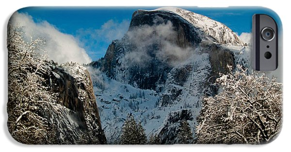 Bill Gallagher Photographs iPhone Cases - Half Dome Winter iPhone Case by Bill Gallagher