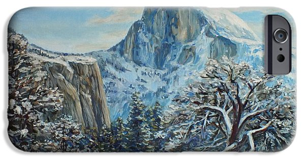 Half Dome Paintings iPhone Cases - Half Dome Winter in Yosemite iPhone Case by Jennifer Bartsch