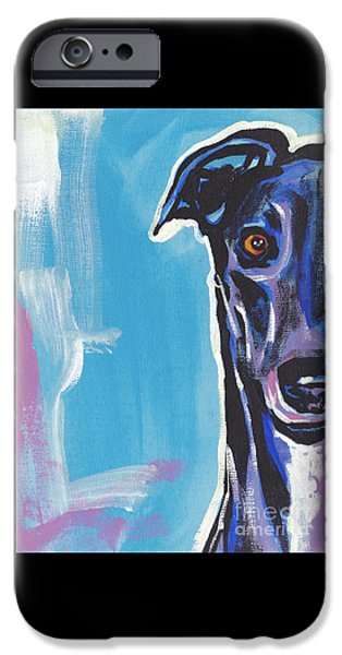 Greyhound iPhone Cases - Half Grey  iPhone Case by Lea