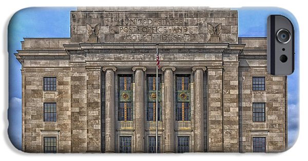 Arkansas iPhone Cases - Half In Half Out - Texarkana Federal Courthouse and Post Office iPhone Case by Mountain Dreams