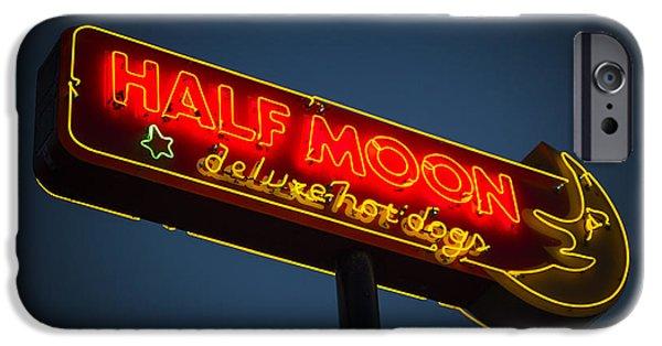 Neon iPhone Cases - Half Moon iPhone Case by Bryan Scott