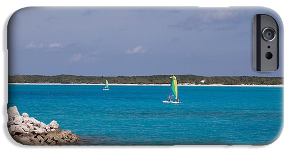 Half Moon Cay iPhone Cases - Half Moon Cay on the water 2 iPhone Case by Christopher McCartin