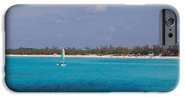 Half Moon Cay iPhone Cases - Half Moon Cay on the water iPhone Case by Christopher McCartin