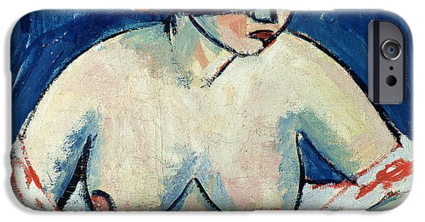 Nudity iPhone Cases - Half Naked Woman with a Hat iPhone Case by Ernst Ludwig Kirchner