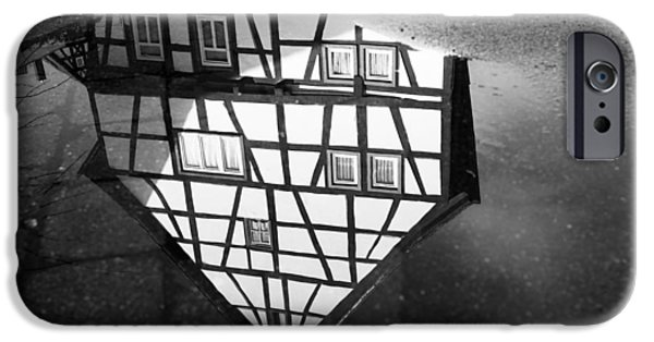 Asphalt iPhone Cases - Half-timbered house water reflection black and white iPhone Case by Matthias Hauser