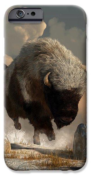 Bison Art iPhone Cases - Half White Bison iPhone Case by Daniel Eskridge